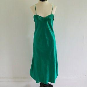 VICTORIA'S SECRET emerald green silk slip